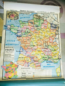France Political Map Vintage Cloth Pull Down Roll Up School Wall 1950s In French