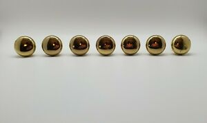 Lot Of 7 Vintage Solid Brass Round Ball Cabinet Drawer Pulls Knobs Handles