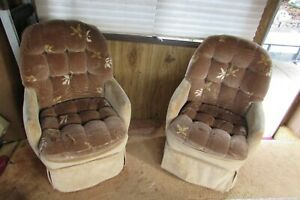 2 Rv Boat 1984 Coach Captain S Chairs Tufted Velour Tan Brown Material 1016b