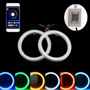 2x 70mm Cob Rgb Led Angel Eye Halo Rings Lights Phone App Control Headlight Drl