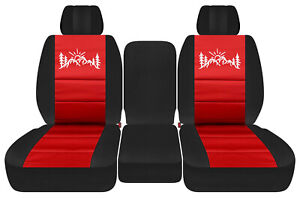 Front Truck Car Seat Covers Blk Red W Mountain Fits Dodge Ram11 18 1500 2500