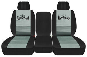 Front Truck Seat Covers Blk Steel Gray W Mountain Fits Dodge Ram11 18 1500 2500