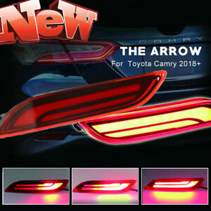 3d Optic Red Led Rear Bumper Reflector Brake Tail Light For 2018 up Toyota Camry