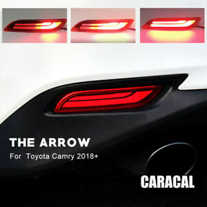 2x Led Rear Brake Tail Fog Light Sequential Turn Signal For 2018 up Toyota Camry