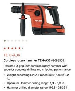 Hilti Te 6 a36 Cordless Rotary Hammer Brand New Tool Only