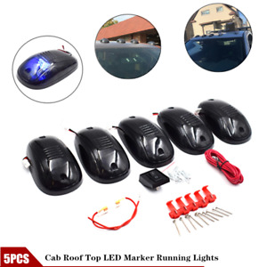 5x Blue 9led Cab Roof Running Top Marker Lights Fit For Dodge Jeep 4x4 Pickup Rv