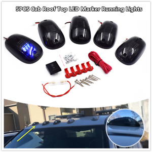 5 blue Led Cab Roof Top Marker Running Clearance Lights For Truck Suv Pickup 4x4