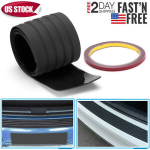 Black Car Rear Bumper Sill Protector Plate Rubber Cover Guard Pad Moulding Trim