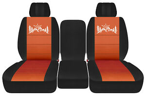 Front Truck Seat Covers Blk Burnt Orange W Mountain Fits Dodge Ram11 2018 1500