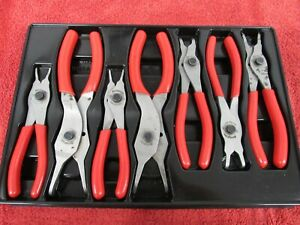Snap On 7 Pc Internal External Snap Ring Plier Set In A Tray