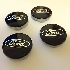 Set Of 4 Black Wheel Center Caps 54mm Rim Emblem Logo Hubcaps Cover Fit For Ford