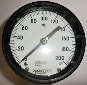 Ashcroft Duragauge Pressure Gauge 0 200 Psi Bronze Tube Brass Socket 5 Face