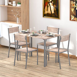 5pc Compact Contemporary Bar Height Dining Set W Table Chairs