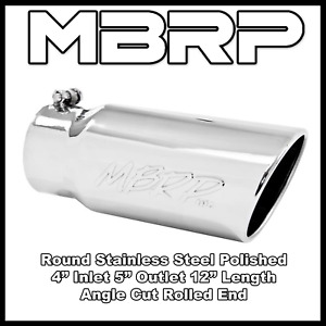 Mbrp Rolled End 4 Inlet 5 Outlet 12 Stainless Exhaust Tip Angled Cut T5051