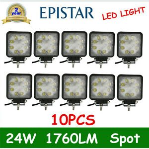 10x 24w Square Led Work Light Spot Beam Offroad Boat Lamp Tractor Truck Suv Ute