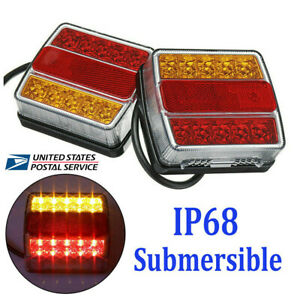 2pcs Rear16 Led Submersible Trailer Tail Lights Kit Boat Marker Truck Waterproof