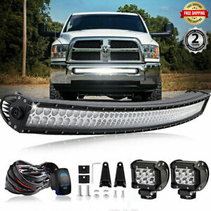For Dodge Ram 1500 2500 3500 2003 2018 Bumper 42 Led Curved Light Bar Work Pods