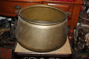 Large Antique Copper Metal Cauldron Cooking Vessel Pot With Handle
