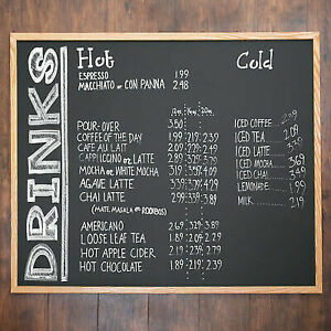 36 X 48 Oak Frame Black Single Sided Restaurant Chalk Menu Board