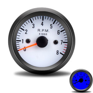 2 52mm 0 8000rpm Tachometer Tach Gauge Meter Car Truck Motorcycle 12v Blue Led
