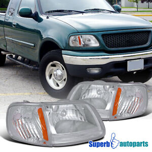 For 1997 2003 Ford F150 Diamond Headlights Corner Signal Lamps 4pc Set