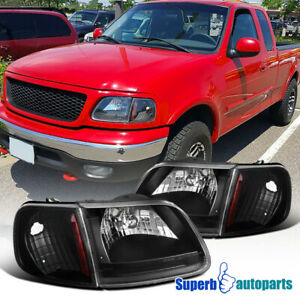 For 1997 2003 Ford F 150 Head Lights Black Corner Signal Lamps Replacement