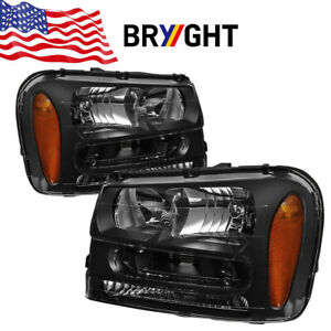 For 2002 2009 Chevy Trailblazer Ls 4 2l Black Headlights Amber Corner Lamps Pair