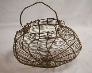 Antique Primitive Farmhouse Rustic Wire Egg Gathering Basket W Coiled Handle