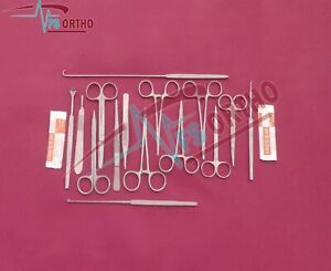 Basic Tissue Dissection Set Of 27 Pieces Surgical Medical Instruments Steel