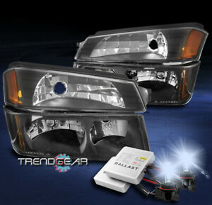 For 2002 2006 Chevy Avalanche 1500 2500 Headlight Bumper Lamp Black W 8000k Hid