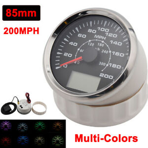 85mm Boat Gps Speedometer Gauge 200mph 300km H 7 Colors Led Backlight Universal