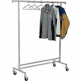 Single Hangrail Rolling Clothes Rack k43 Heavy Duty Square Tubing Chrome