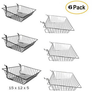 Pack 6 Shallow Wire Baskets For Gridwall slatwall pegboard Black chrome