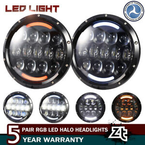 Led Halo Hi lo Headlights Amber Turn Signal Crystal 7 For 1967 81 Chevy Camaro