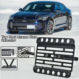 For 18 Up Kia Stinger Front Bumper Tow Hook License Plate Bracket Relocator New
