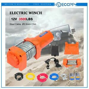 Eccpp 12v 3500lbs Electric Winch Steel Cable Truck Trailer Towing Off Road 4wd