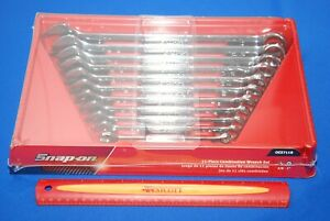 New Snap on 11 Piece 12 point Sae Flank Drive Standard Combo Wrench Set Oex711b