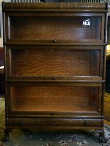 Barrister Lawyer Bookcase Oak 3 Stack W Drawer Excellent