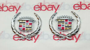 Cadillac Silver Roof Wreath Crest Emblems Oem 4 Pieces