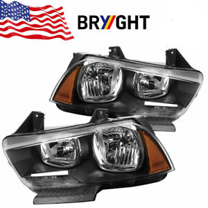2011 2014 Dodge Charger Halogen Headlights Headlamps Replacement Left Right Blk