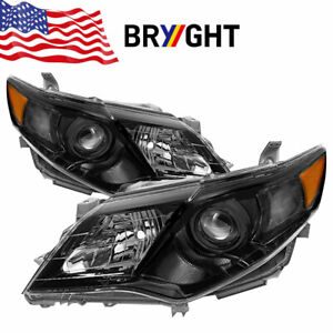 For 2012 2014 Toyota Camry se Style Black Projector Headlights Left right 13