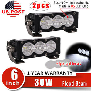 2x 30w 6 Led Work Light Bar White Flood Fog Lamp Offroad Suv Atv Ute Spot Lens