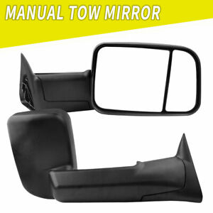 Towing Mirrors Manual Flip Up For 94 01 Dodge Ram 1500 94 02 Ram 2500 3500 Truck