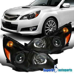 For 2010 2014 Subaru Legacy Black Projector Headlights W Turn Signal Lamps