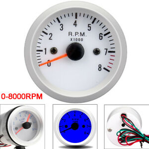 2 52mm Universal Car Tachometer Tacho Gauge Meter Blue Led Light 0 8000 Rpm 12v
