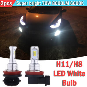 2pcs H11 H8 H16 Led Fog Light Bulbs Conversion Kit Oem Upgrade Lamp 70w 6000k