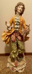 Vintage Capodimonte Large 26 Figural Lamp Base Young Man W Bird Signed Carlo