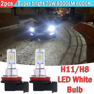 2x H11 H8 H16 Led Fog Light Bulbs Conversion Kit Upgrade Canbus 70w 8000lm 6000k