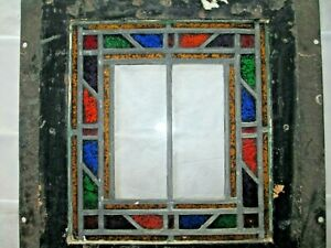 Antique American Stained Glass Window Pair In Steel Frames