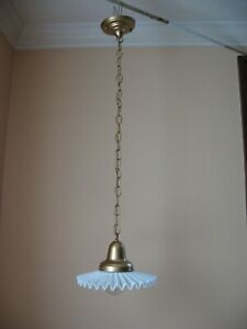 Antique Brass Pendant Ceiling Light Fixture With Vtg Pleated Milk Glass Shade